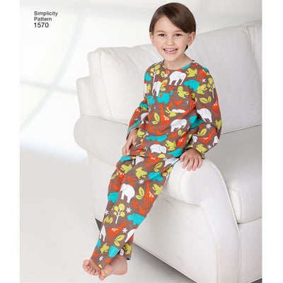 Simplicity Pattern 1570 Childs Girls and Boys Loungewear Image 1 From Patternsandplains.com