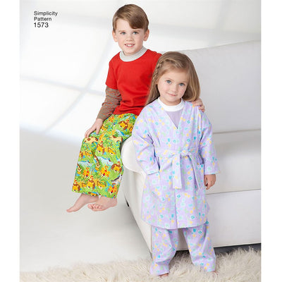 Simplicity Pattern 1573 Toddlers and Childs Loungewear Image 1 From Patternsandplains.com