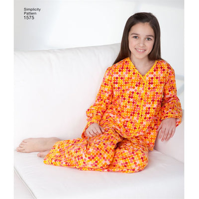Simplicity Pattern 1575 Childs Girls and Boys Loungewear Image 1 From Patternsandplains.com