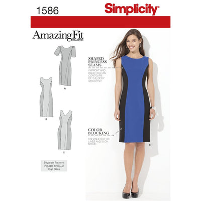 Simplicity Pattern 1586 Womens and Plus Size Amazing Fit Dress Image 1 From Patternsandplains.com