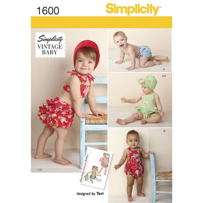 Simplicity Pattern 1600 Babies Vintage Romper Set Image 1 From Patternsandplains.com