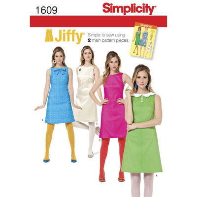 Simplicity Pattern 1609 Womens Jiffy 1960s Vintage Dress Image 1 From Patternsandplains.com