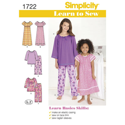 Simplicity Pattern 1722 Learn to Sew Childs and Girls Loungewear Image 1 From Patternsandplains.com