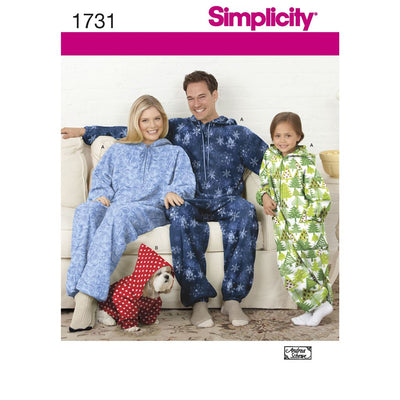 Simplicity Pattern 1731 Childs Teens and Adults Fleece Jumpsuit Image 1 From Patternsandplains.com