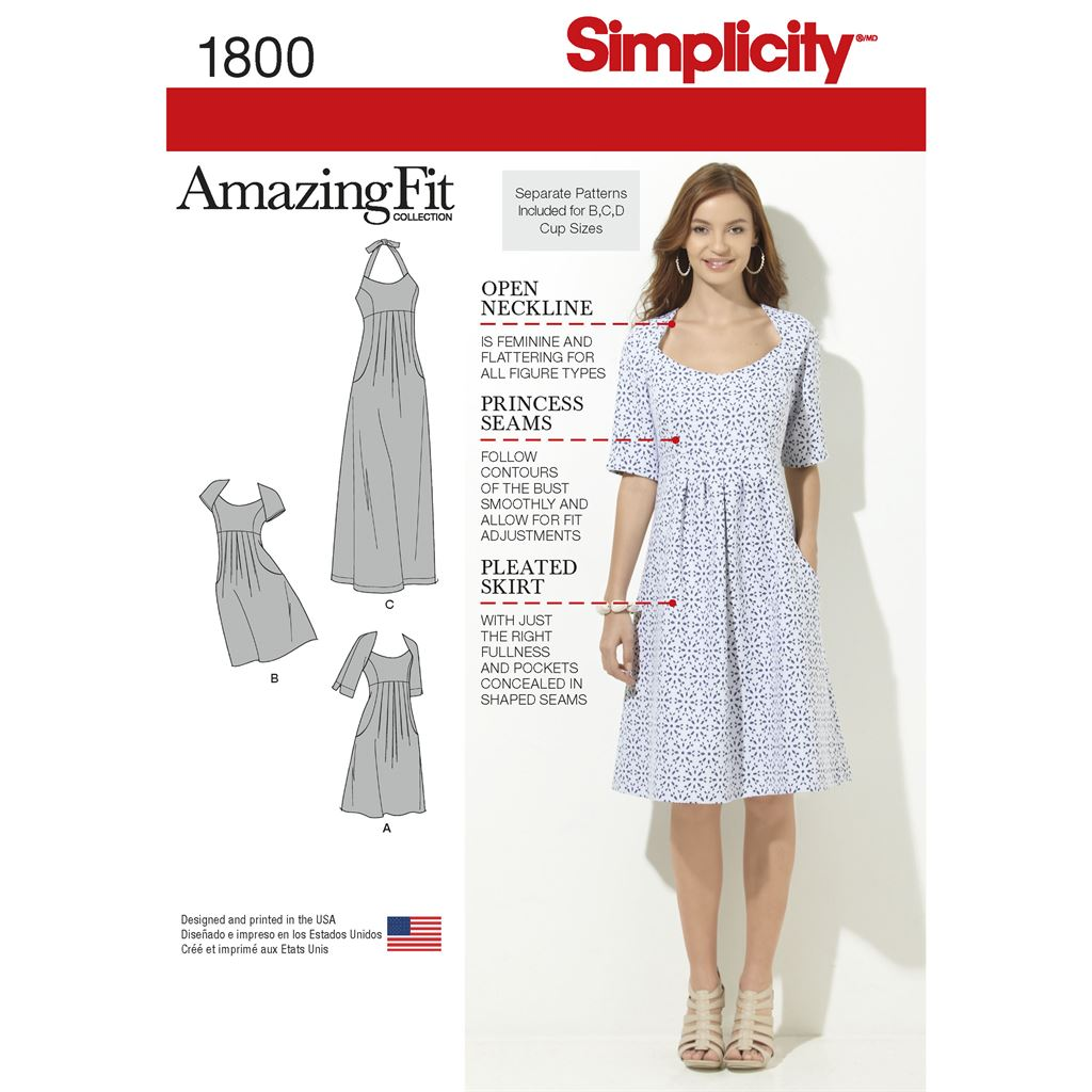 Simplicity Pattern 1800 Womens and Plus Size Amazing Fit Dresses Image 1 From Patternsandplains.com