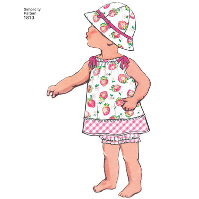 Simplicity Pattern 1813 Babies Dress and Separates Image 1 From Patternsandplains.com