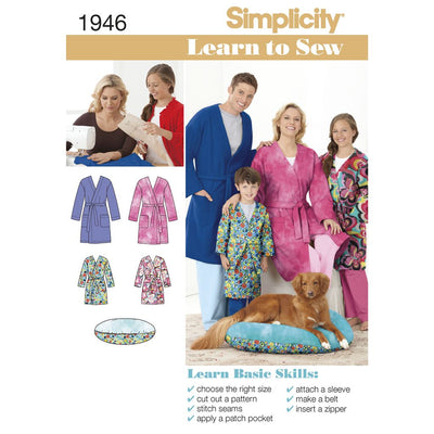Simplicity Pattern 1946 Learn to Sew Childs Teens and Adults Robe Image 1 From Patternsandplains.com