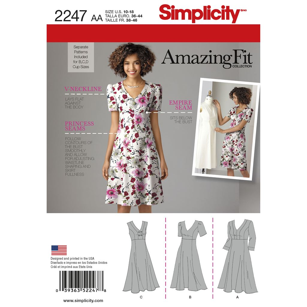 Simplicity Pattern 2247 Womens and Plus Size Amazing Fit Dresses Image 1 From Patternsandplains.com
