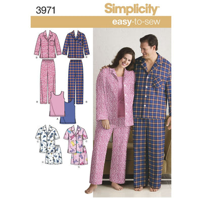 Simplicity Pattern 3971 Womens and Mens Plus Size Sleepwear Image 1 From Patternsandplains.com