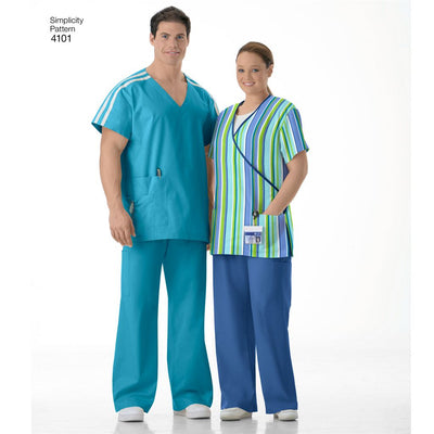 Simplicity Pattern 4101 Womens and Mens Plus Size Scrubs Image 1 From Patternsandplains.com