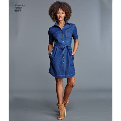 Simplicity Pattern 8014 Womens Shirt Dress Image 1 From Patternsandplains.com