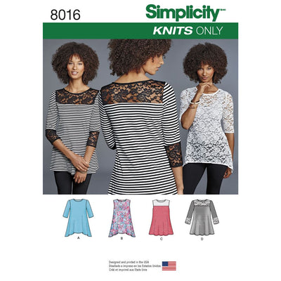 Simplicity Pattern 8016 Womens Knit Tops with Lace Variations Image 1 From Patternsandplains.com