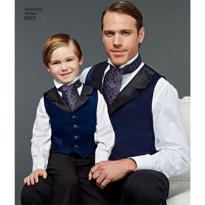 Simplicity Pattern 8023 Boys and Mens Vest Bow tie Cummerbund and Ascot Image 1 From Patternsandplains.com