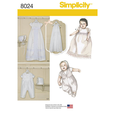 Simplicity Pattern 8024 Babies Christening Sets with Bonnets Image 1 From Patternsandplains.com
