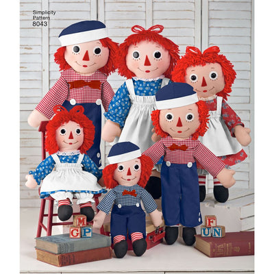 Simplicity Pattern 8043 Raggedy Ann and Andy Dolls Image 1 From Patternsandplains.com