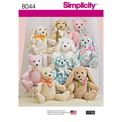 Simplicity Pattern 8044 Two Pattern Piece Stuffed Animals Image 1 From Patternsandplains.com