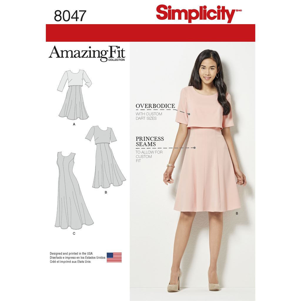 Simplicity Pattern 8047 Amazing Fit Womens Dress in Slim Average and Curvy Fit Image 1 From Patternsandplains.com