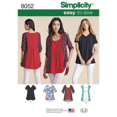 Simplicity Pattern 8052 Womens Easy to Sew Tops Image 1 From Patternsandplains.com