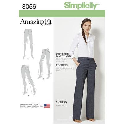 Simplicity Pattern 8056 Amazing Fit Womens and Plus Size Flared Trousers or Shorts Image 1 From Patternsandplains.com