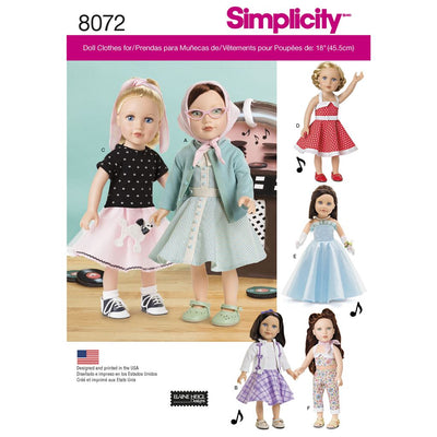 Simplicity Pattern 8072 Vintage Inspired 18 Doll Clothes Image 1 From Patternsandplains.com