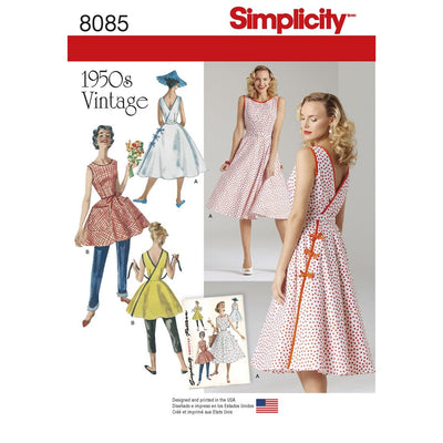 Simplicity Pattern 8085 Womens Vintage 1950s Wrap Dress in Two Lengths Image 1 From Patternsandplains.com