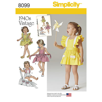 Simplicity Pattern 8099 Toddlers Romper and Button on skirt Image 1 From Patternsandplains.com
