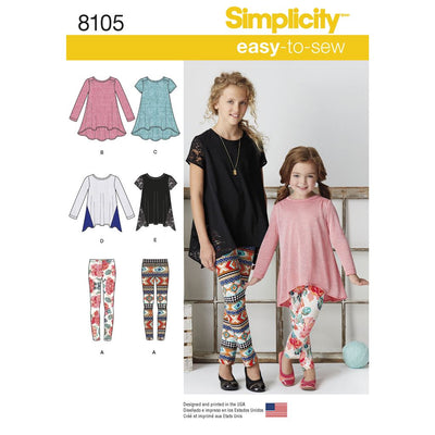Simplicity Pattern 8105 Childs and Girls Knit Tunics and Leggings Image 1 From Patternsandplains.com