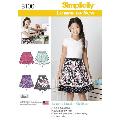 Simplicity Pattern 8106 Learn To Sew Skirts for Girls and Girls Plus Image 1 From Patternsandplains.com