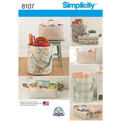 Simplicity Pattern 8107 Bucket Basket and Tote Organizers Image 1 From Patternsandplains.com