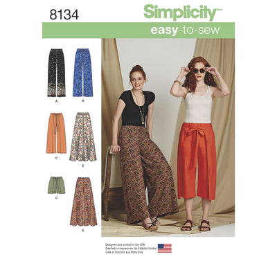 Simplicity Pattern 8134 Womens Easy to Sew Trousers and Shorts Image 1 From Patternsandplains.com