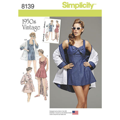 Simplicity Pattern 8139 Womens Vintage Bathing Dress and Beach Coat Image 1 From Patternsandplains.com