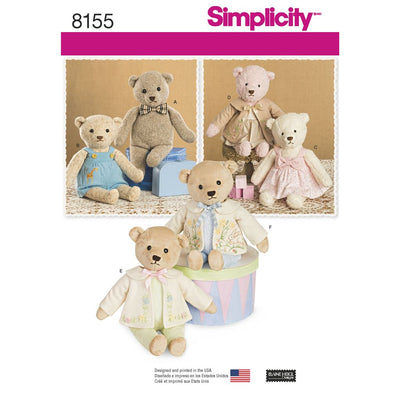 Simplicity Pattern 8155 Stuffed Bears with Clothes Image 1 From Patternsandplains.com