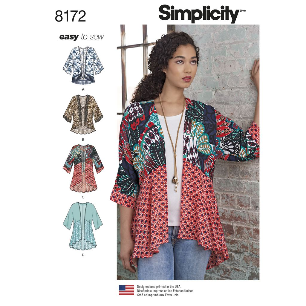 Simplicity Pattern 8172 Womens Fashion Kimonos with Length Fabric and Trim Variations Image 1 From Patternsandplains.com