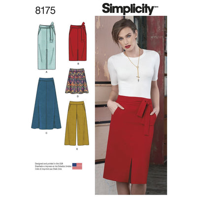 Simplicity Pattern 8175 Womens Slim and Flared Skirts Cropped Trouser and Tie Belt Image 1 From Patternsandplains.com