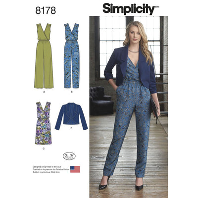 Simplicity Pattern 8178 Womens Jumpsuit with two leg widths Dress and Jacket Image 1 From Patternsandplains.com