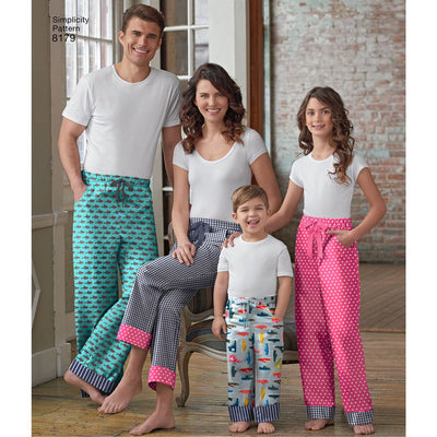 Simplicity Pattern 8179 Pattern 8179 Child Teen and Adult Lounge Pant Image 1 From Patternsandplains.com