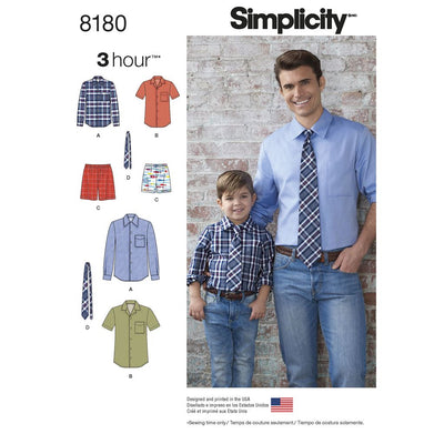 Simplicity Pattern 8180 Boys and Mens Shirt Boxer Shorts and Tie Image 1 From Patternsandplains.com