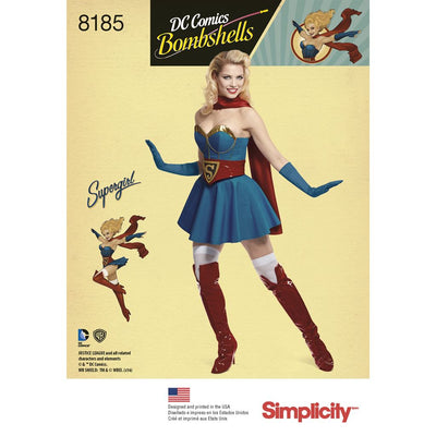 Simplicity Pattern 8185 D.C Bombshells Super Girl Costume for Womens Image 1 From Patternsandplains.com