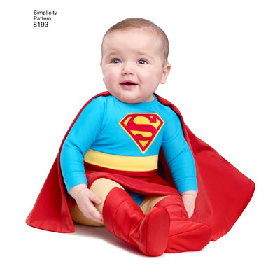 Simplicity Pattern 8193 Babies Super Hero Costumes Image 1 From Patternsandplains.com