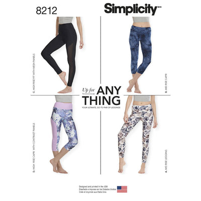 Simplicity Pattern 8212 Womens Knit Leggings Image 1 From Patternsandplains.com