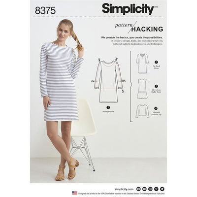 Simplicity Pattern 8375 Womens Knit Dress or Top with Multiple Pattern Pieces for Design Hacking Image 1 From Patternsandplains.com