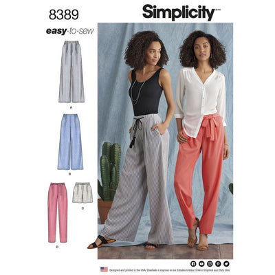 Simplicity Pattern 8389 Womens Trousers with Length and Width Variations and Tie Belt Image 1 From Patternsandplains.com