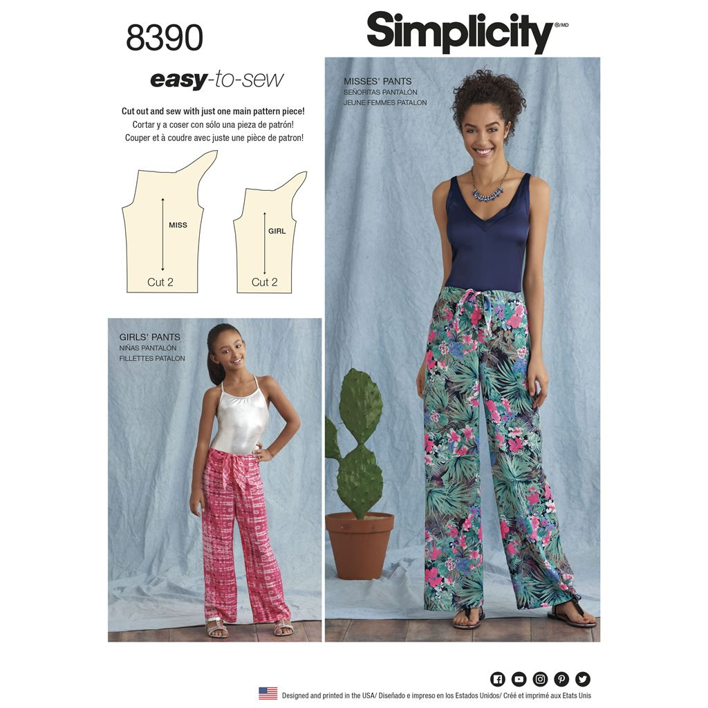 Simplicity Pattern 8390 Girls and Womens Tie Front One Piece Trousers Image 1 From Patternsandplains.com