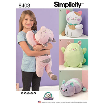 Simplicity Pattern 8403 Stuffed Kitties Image 1 From Patternsandplains.com