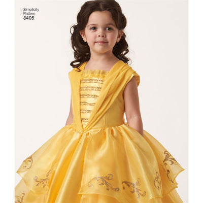 Simplicity Pattern 8405 Disney Beauty and the Beast Costume for Child and 18 Doll Image 1 From Patternsandplains.com