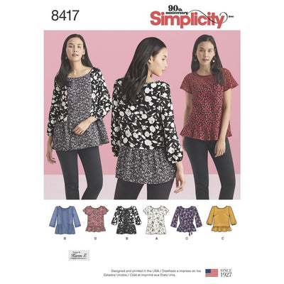 Simplicity Pattern 8417 Womens Pullover Tops with Sleeve and Fabric Variations Image 1 From Patternsandplains.com