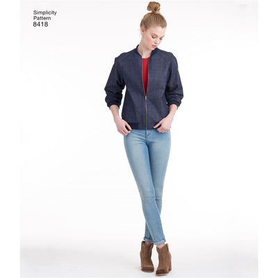 Simplicity Pattern 8418 Womens Lined Bomber Jacket with Fabric and Trim Variations Image 1 From Patternsandplains.com