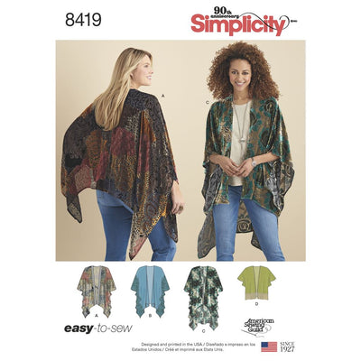 Simplicity Pattern 8419 Womens Kimono Style Wrap with Variations Image 1 From Patternsandplains.com