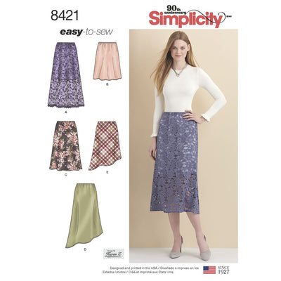 Simplicity Pattern 8421 Womens Skirts in Three lengths with Hem Variations Image 1 From Patternsandplains.com