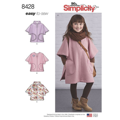 Simplicity Pattern 8428 Childs Poncho in Two Lengths Image 1 From Patternsandplains.com
